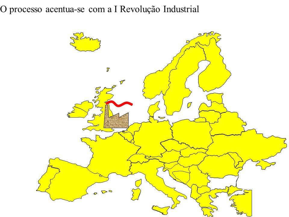 O processo acentua-se com a I Revolução Industrial