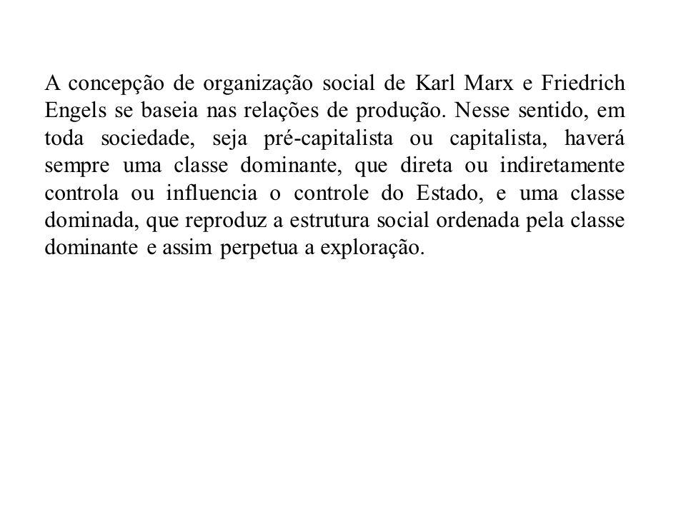 A concepção de organização social de Karl Marx e Friedrich Engels se baseia nas relações de produção. Nesse sentido, em toda sociedade, seja pré-capit