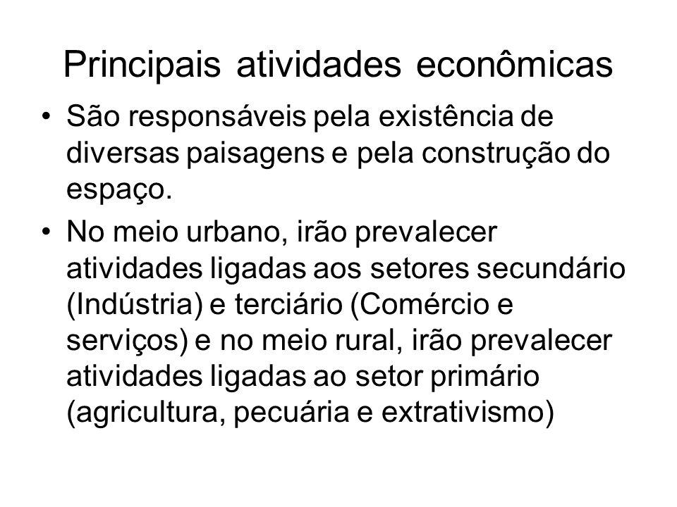 Principais atividades econômicas São responsáveis pela existência de diversas paisagens e pela construção do espaço. No meio urbano, irão prevalecer a