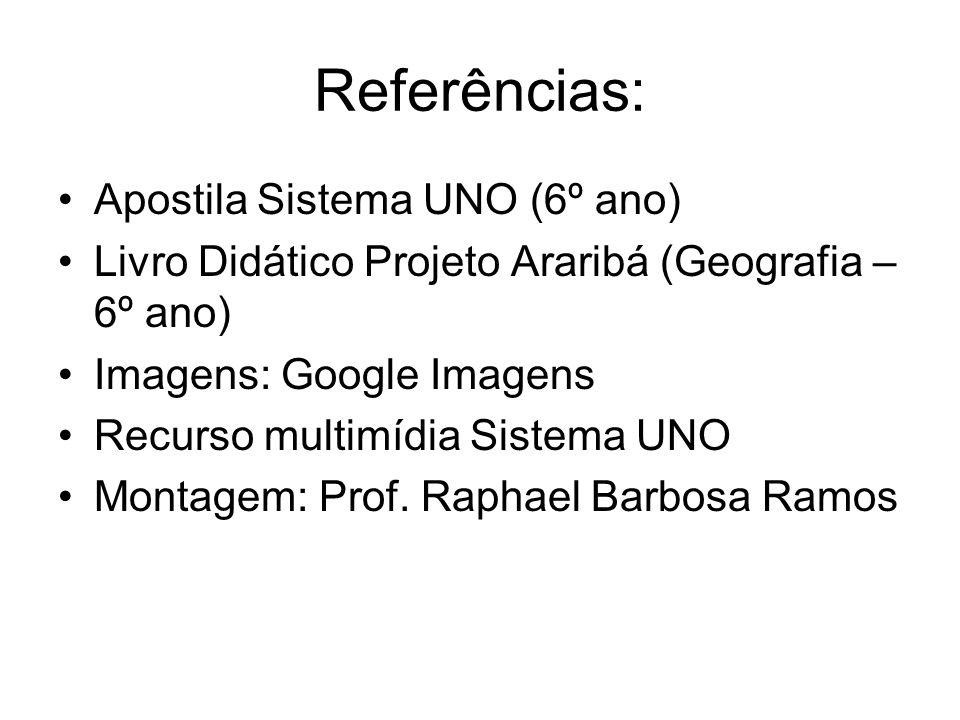 Referências: Apostila Sistema UNO (6º ano) Livro Didático Projeto Araribá (Geografia – 6º ano) Imagens: Google Imagens Recurso multimídia Sistema UNO