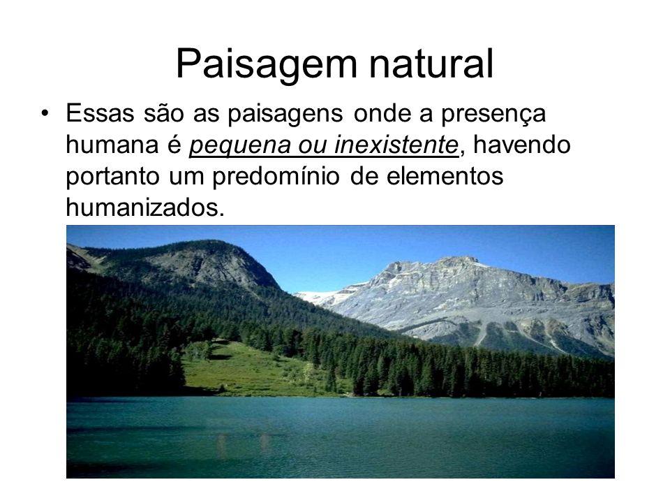 Paisagem natural Essas são as paisagens onde a presença humana é pequena ou inexistente, havendo portanto um predomínio de elementos humanizados.