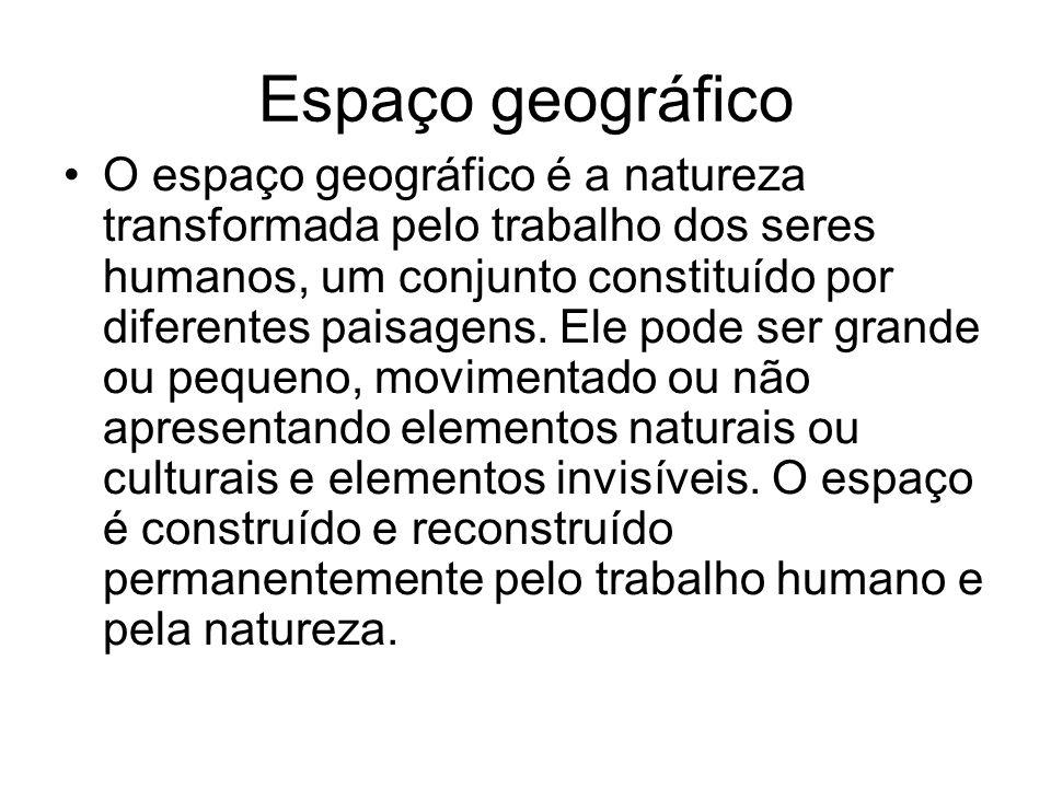 Espaço geográfico O espaço geográfico é a natureza transformada pelo trabalho dos seres humanos, um conjunto constituído por diferentes paisagens. Ele