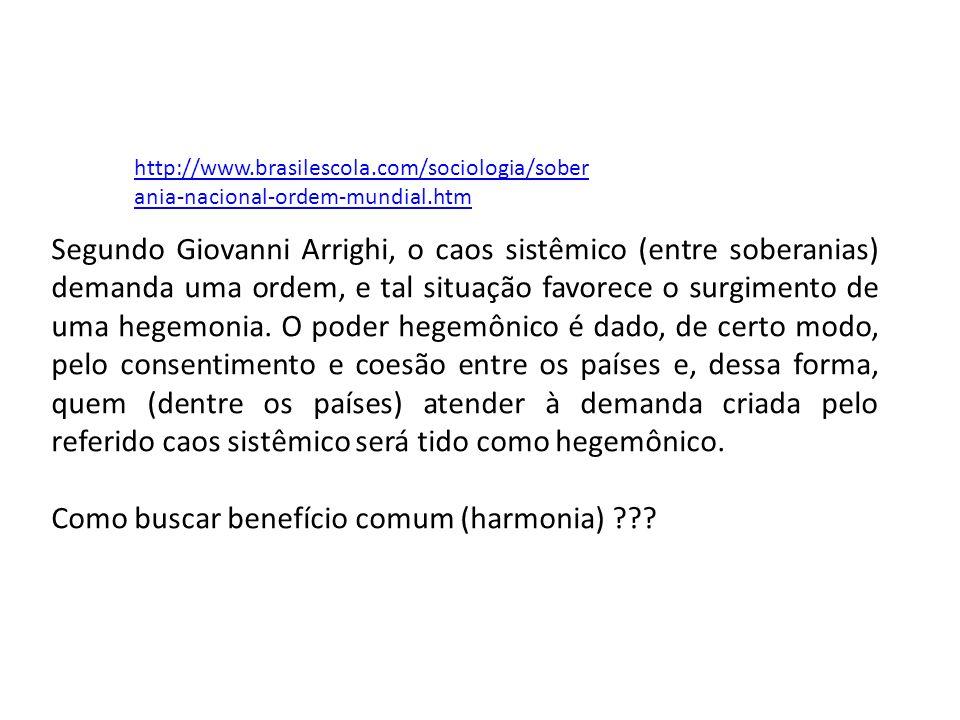 http://www.brasilescola.com/sociologia/sober ania-nacional-ordem-mundial.htm Segundo Giovanni Arrighi, o caos sistêmico (entre soberanias) demanda uma