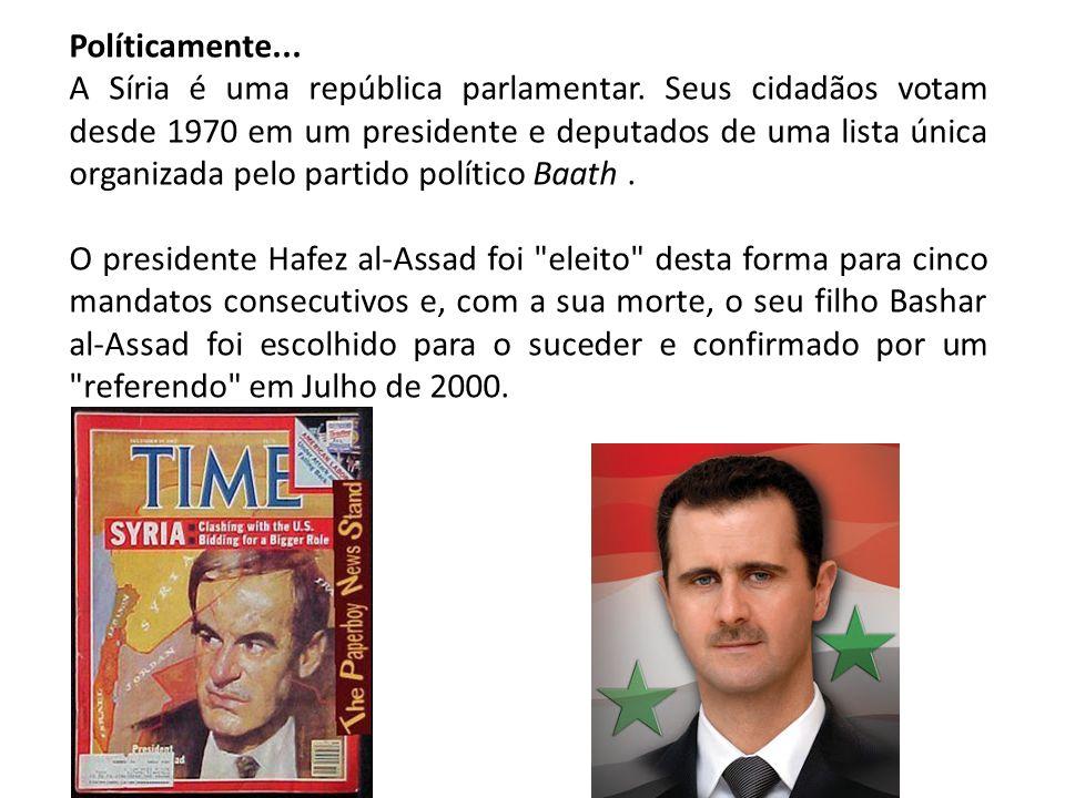 Políticamente... A Síria é uma república parlamentar. Seus cidadãos votam desde 1970 em um presidente e deputados de uma lista única organizada pelo p