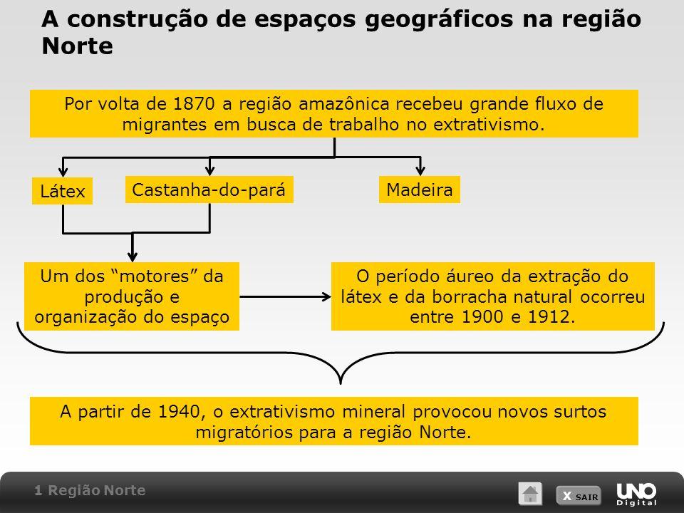 X SAIR A construção de espaços geográficos na região Norte Por volta de 1870 a região amazônica recebeu grande fluxo de migrantes em busca de trabalho