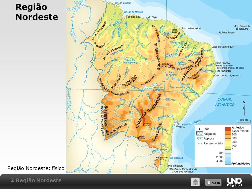 X SAIR Região Nordeste Região Nordeste: físico 2 Região Nordeste