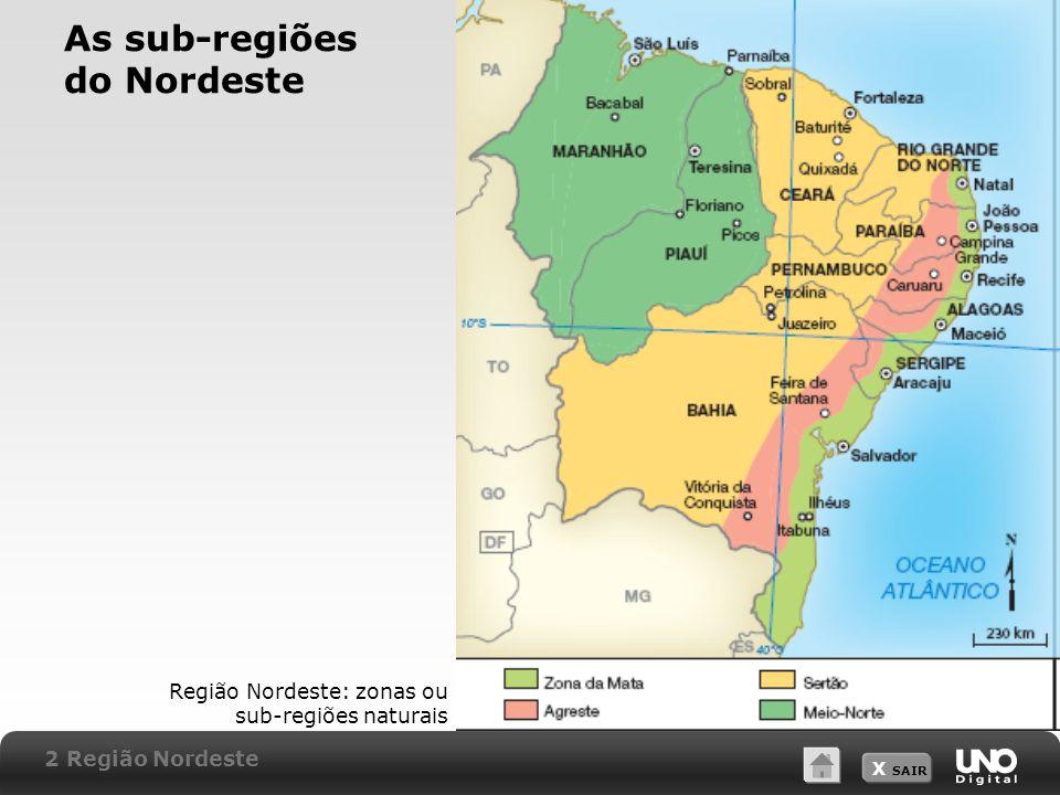 X SAIR As sub-regiões do Nordeste Região Nordeste: zonas ou sub-regiões naturais 2 Região Nordeste