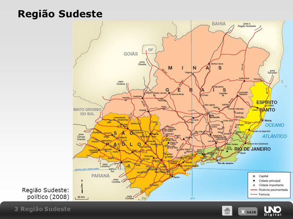 X SAIR Região Sudeste Região Sudeste: político (2008) 3 Região Sudeste