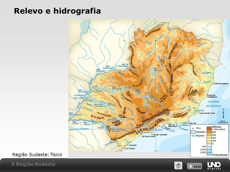 X SAIR Relevo e hidrografia Região Sudeste: físico 3 Região Sudeste