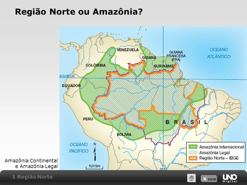 X SAIR Região Norte ou Amazônia? Amazônia Continental e Amazônia Legal 1 Região Norte