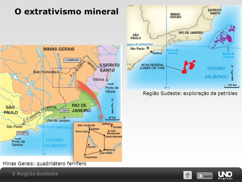 X SAIR O extrativismo mineral Minas Gerais: quadrilátero ferrífero Região Sudeste: exploração de petróleo 3 Região Sudeste