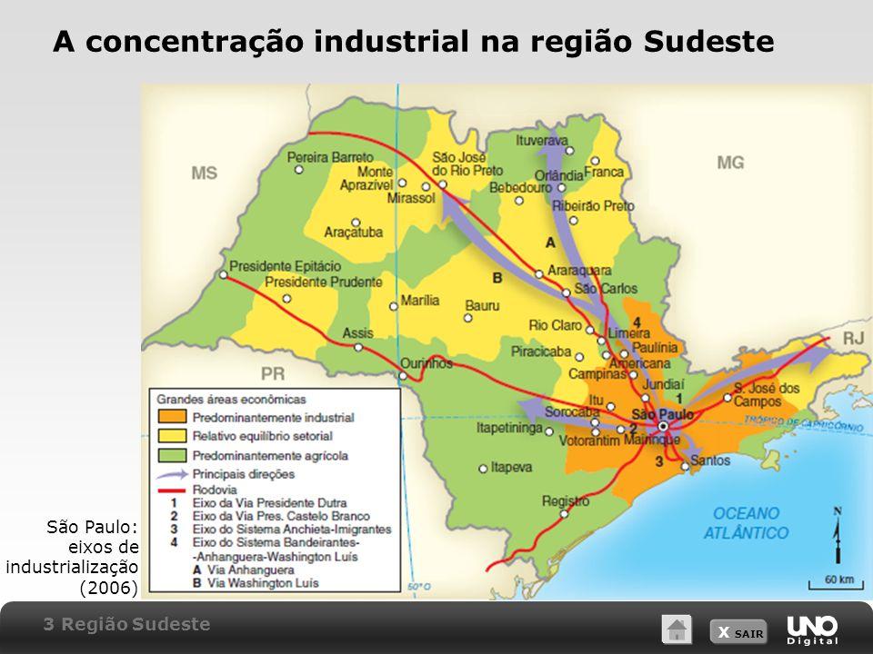 X SAIR A concentração industrial na região Sudeste São Paulo: eixos de industrialização (2006) 3 Região Sudeste