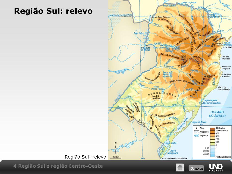 X SAIR Região Sul: relevo 4 Região Sul e região Centro-Oeste