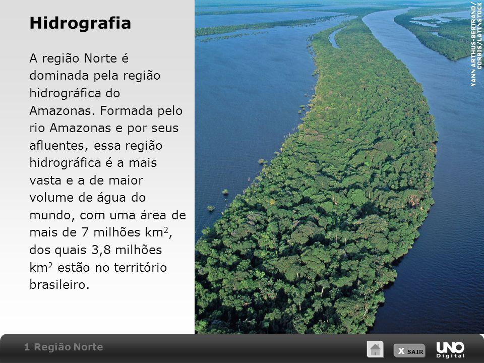 X SAIR Hidrografia A região Norte é dominada pela região hidrográfica do Amazonas. Formada pelo rio Amazonas e por seus afluentes, essa região hidrogr