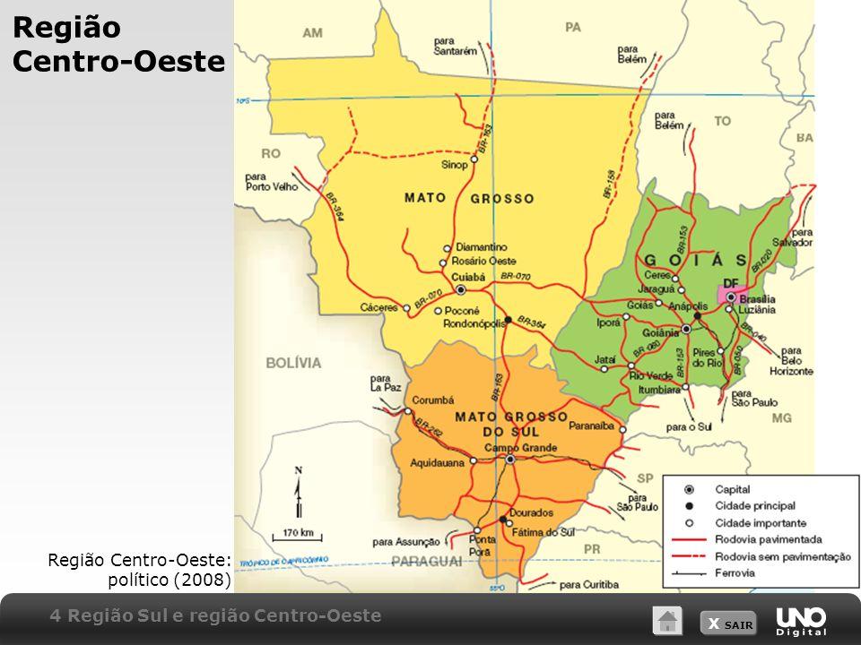 X SAIR Região Centro-Oeste Região Centro-Oeste: político (2008) 4 Região Sul e região Centro-Oeste