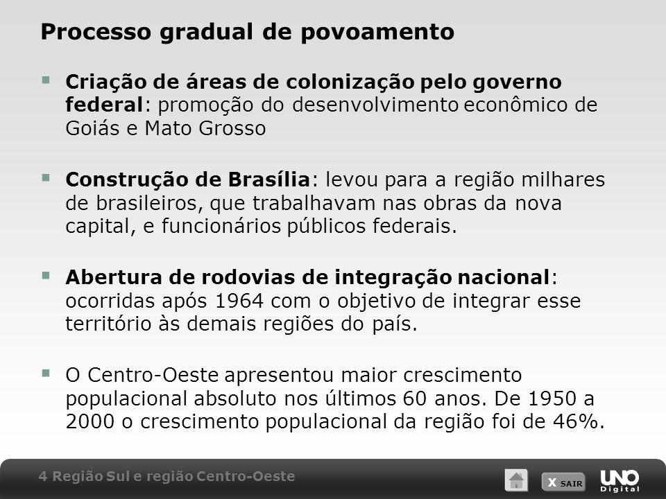 X SAIR Processo gradual de povoamento Criação de áreas de colonização pelo governo federal: promoção do desenvolvimento econômico de Goiás e Mato Gros