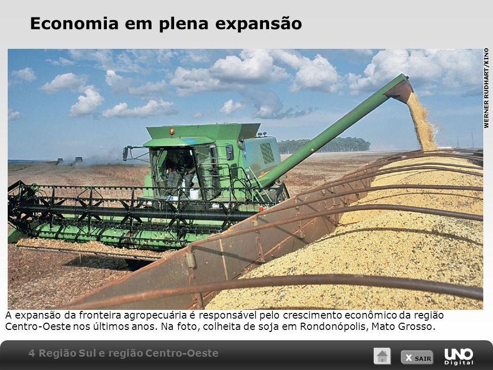 X SAIR Economia em plena expansão A expansão da fronteira agropecuária é responsável pelo crescimento econômico da região Centro-Oeste nos últimos ano
