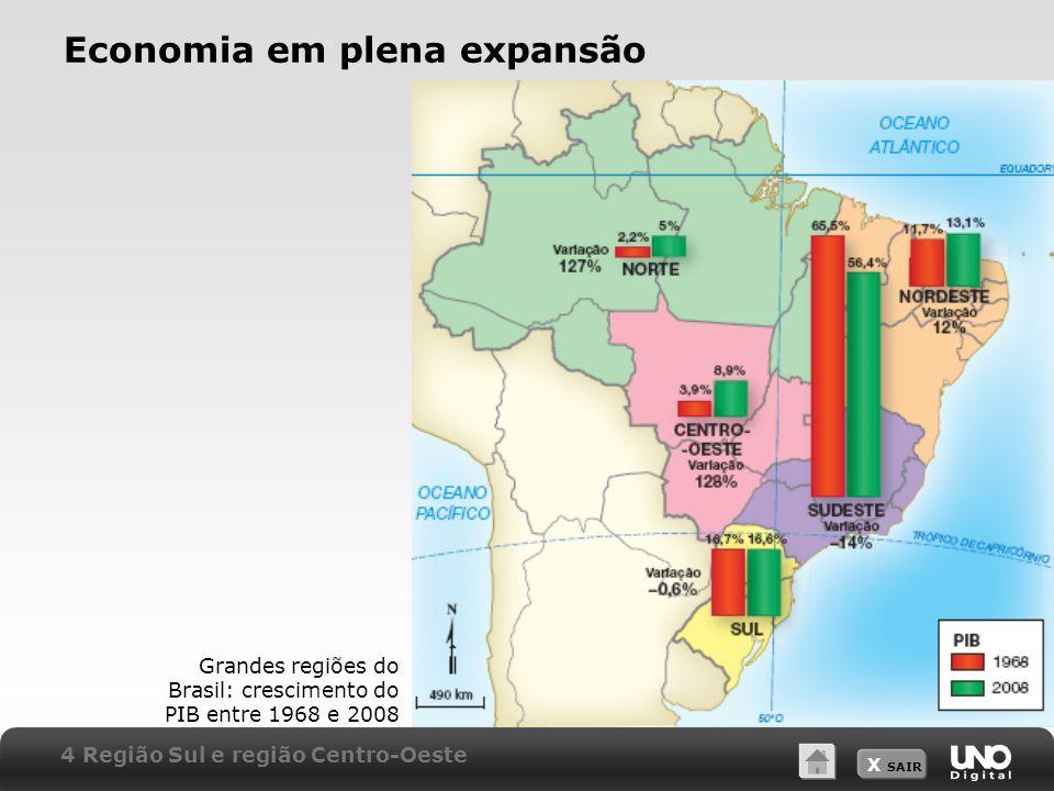 X SAIR Economia em plena expansão Grandes regiões do Brasil: crescimento do PIB entre 1968 e 2008 4 Região Sul e região Centro-Oeste
