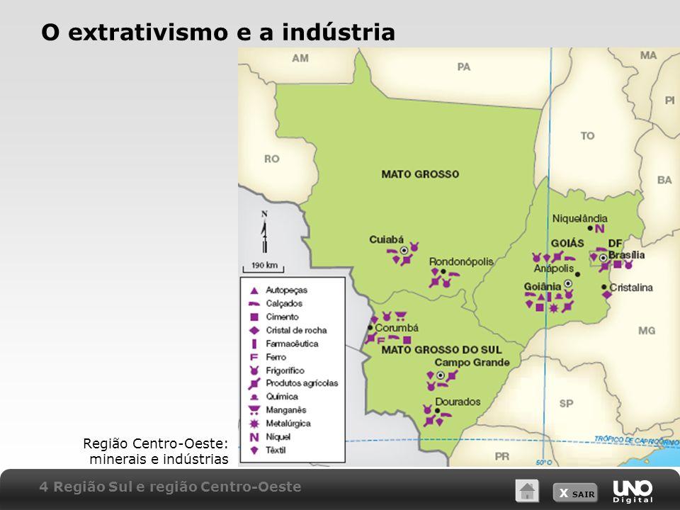 X SAIR O extrativismo e a indústria Região Centro-Oeste: minerais e indústrias 4 Região Sul e região Centro-Oeste