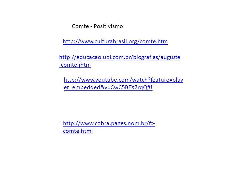 Comte - Positivismo http://www.youtube.com/watch?feature=play er_embedded&v=CwC5BFX7rqQ#! http://educacao.uol.com.br/biografias/auguste -comte.jhtm ht