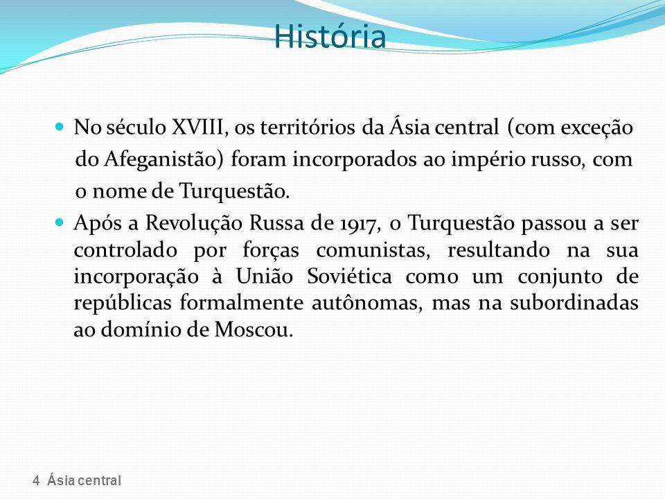 História No século XVIII, os territórios da Ásia central (com exceção do Afeganistão) foram incorporados ao império russo, com o nome de Turquestão. A