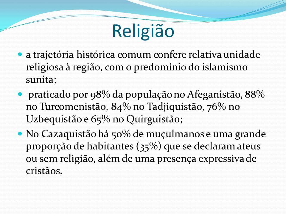 Religião a trajetória histórica comum confere relativa unidade religiosa à região, com o predomínio do islamismo sunita; praticado por 98% da populaçã