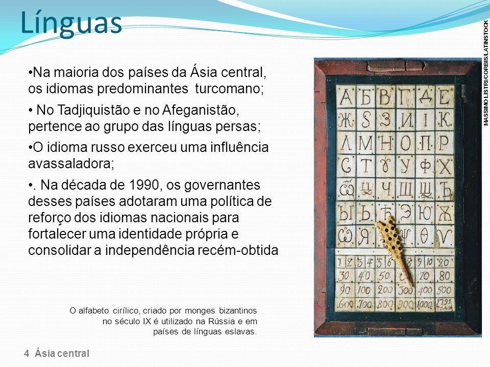 Línguas Na maioria dos países da Ásia central, os idiomas predominantes turcomano; No Tadjiquistão e no Afeganistão, pertence ao grupo das línguas per
