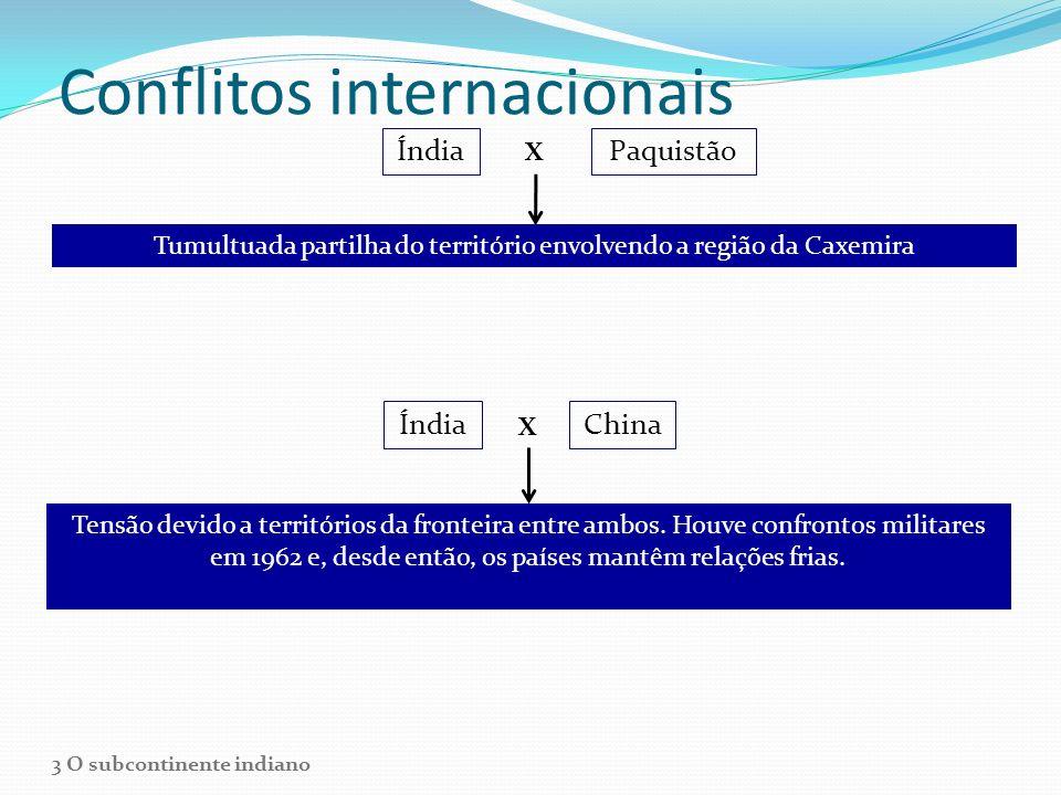 Conflitos internacionais ÍndiaPaquistão X Tumultuada partilha do território envolvendo a região da Caxemira Índia X China Tensão devido a territórios