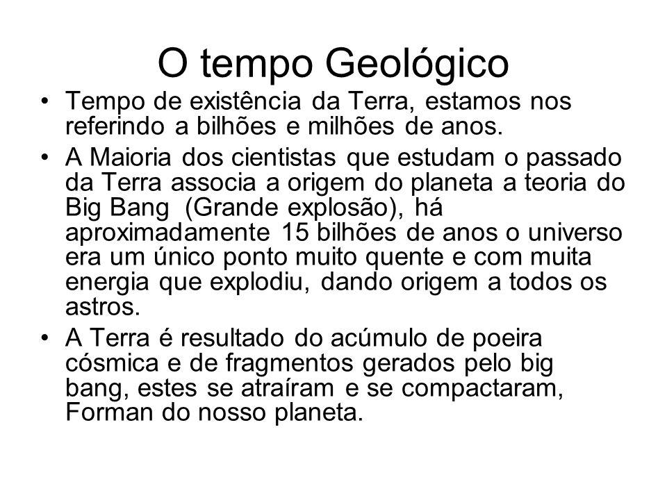 O tempo Geológico Tempo de existência da Terra, estamos nos referindo a bilhões e milhões de anos.