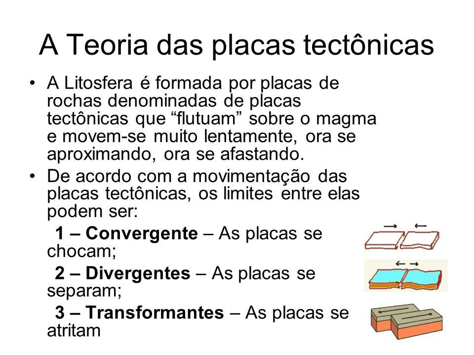 A Teoria das placas tectônicas A Litosfera é formada por placas de rochas denominadas de placas tectônicas que flutuam sobre o magma e movem-se muito