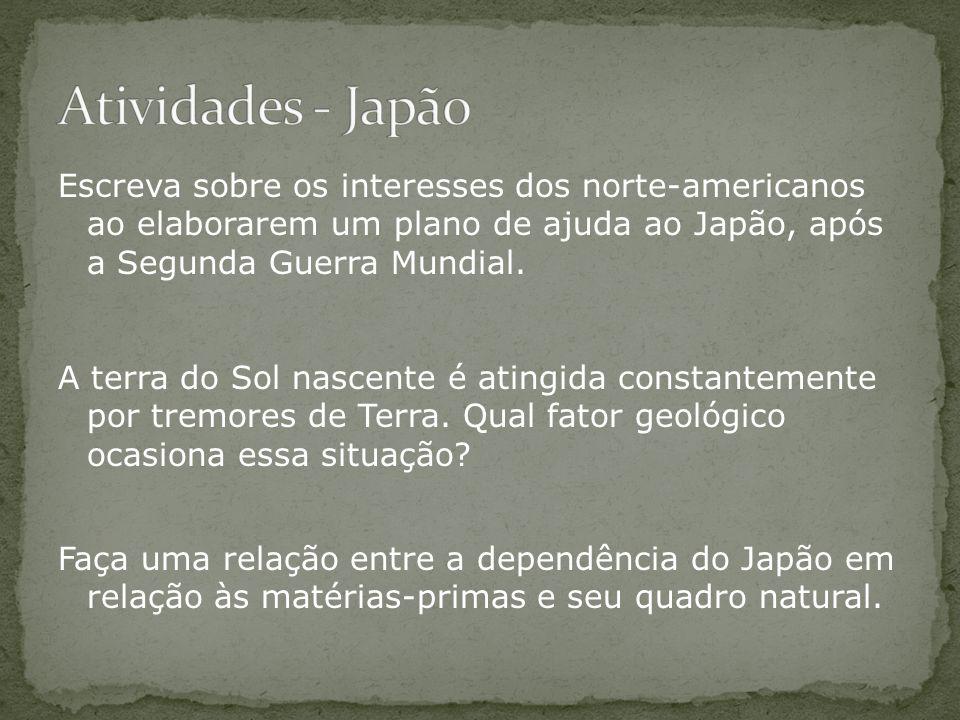 Escreva sobre os interesses dos norte-americanos ao elaborarem um plano de ajuda ao Japão, após a Segunda Guerra Mundial. A terra do Sol nascente é at