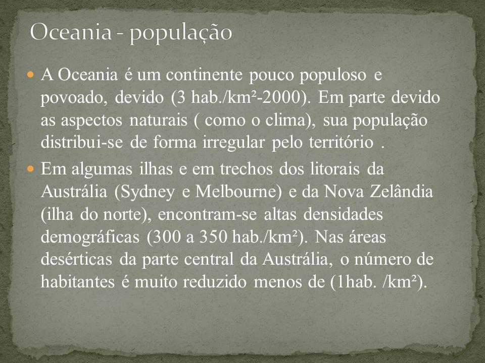 A Oceania é um continente pouco populoso e povoado, devido (3 hab./km²-2000). Em parte devido as aspectos naturais ( como o clima), sua população dist