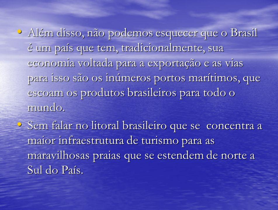 Além disso, não podemos esquecer que o Brasil é um país que tem, tradicionalmente, sua economia voltada para a exportação e as vias para isso são os i