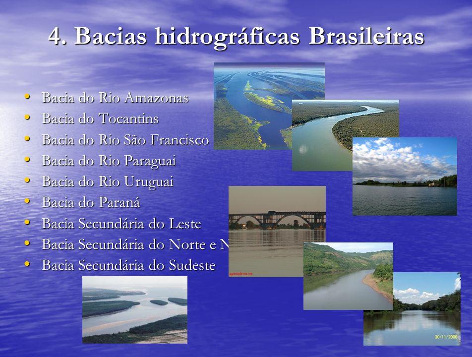 4. Bacias hidrográficas Brasileiras Bacia do Rio Amazonas Bacia do Rio Amazonas Bacia do Tocantins Bacia do Tocantins Bacia do Rio São Francisco Bacia