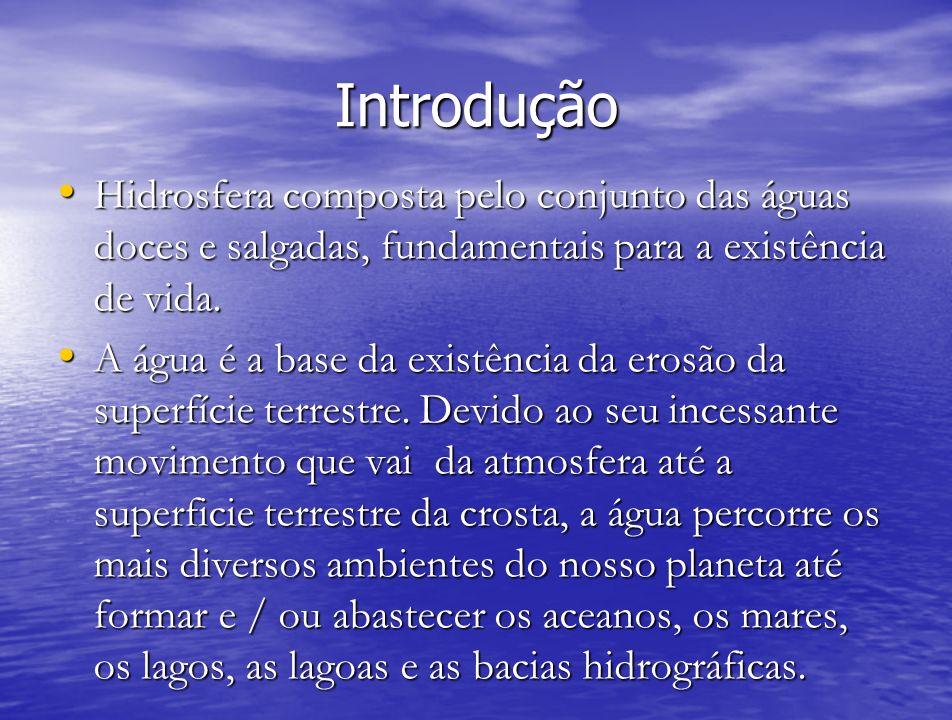 Introdução Hidrosfera composta pelo conjunto das águas doces e salgadas, fundamentais para a existência de vida. Hidrosfera composta pelo conjunto das