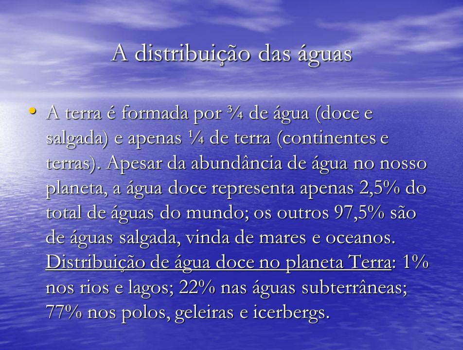 A distribuição das águas A terra é formada por ¾ de água (doce e salgada) e apenas ¼ de terra (continentes e terras). Apesar da abundância de água no