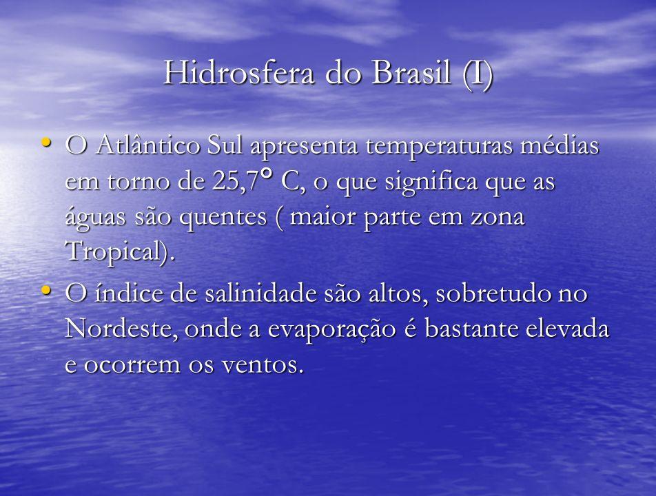 Hidrosfera do Brasil (I) O Atlântico Sul apresenta temperaturas médias em torno de 25,7° C, o que significa que as águas são quentes ( maior parte em
