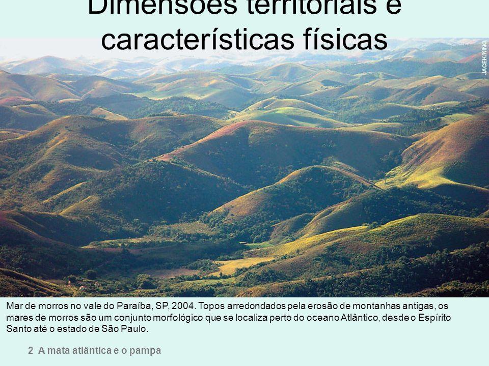 Dimensões territoriais e características físicas Mar de morros no vale do Paraíba, SP, 2004. Topos arredondados pela erosão de montanhas antigas, os m