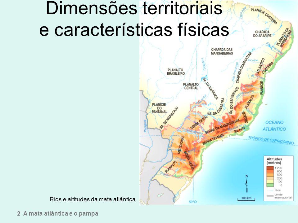 Dimensões territoriais e características físicas Rios e altitudes da mata atlântica 2 A mata atlântica e o pampa