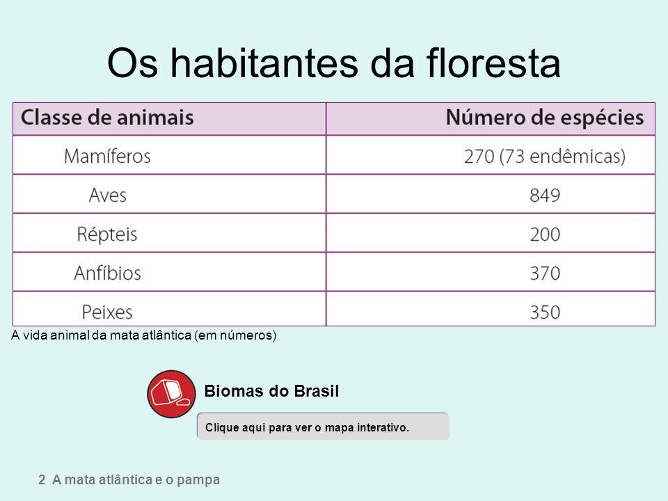 Os habitantes da floresta A vida animal da mata atlântica (em números) 2 A mata atlântica e o pampa Clique aqui para ver o mapa interativo. Biomas do