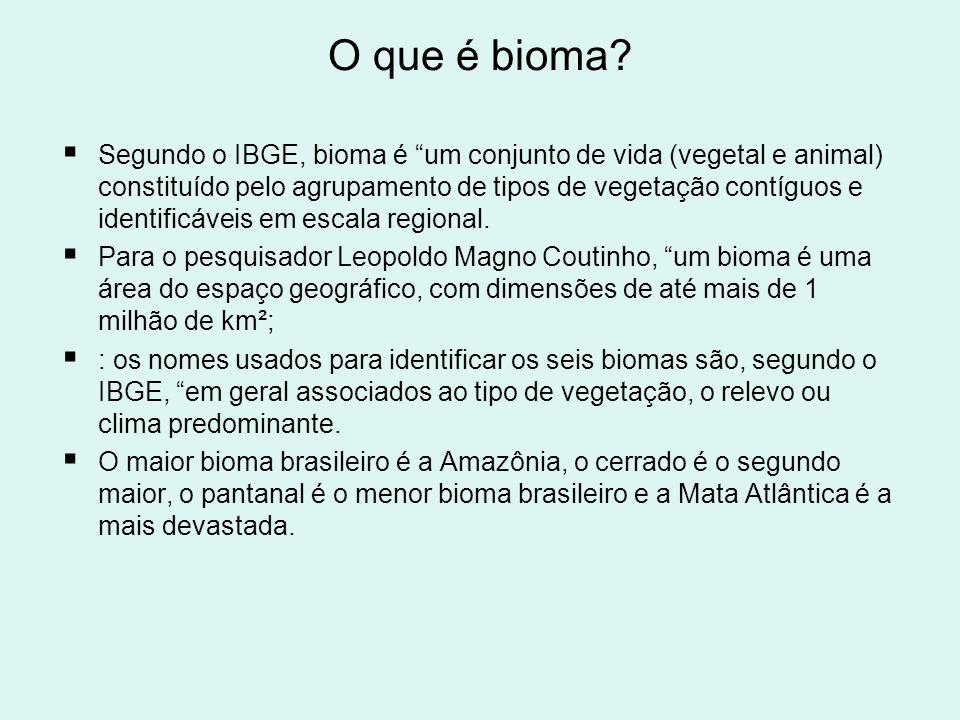 O que é bioma? Segundo o IBGE, bioma é um conjunto de vida (vegetal e animal) constituído pelo agrupamento de tipos de vegetação contíguos e identific