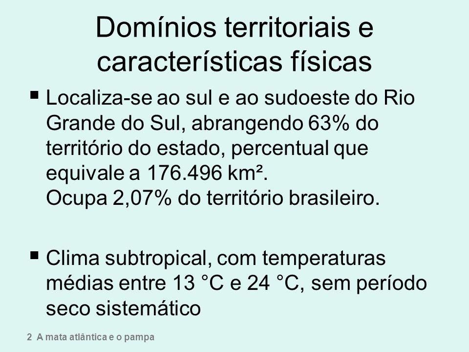 Domínios territoriais e características físicas Localiza-se ao sul e ao sudoeste do Rio Grande do Sul, abrangendo 63% do território do estado, percent