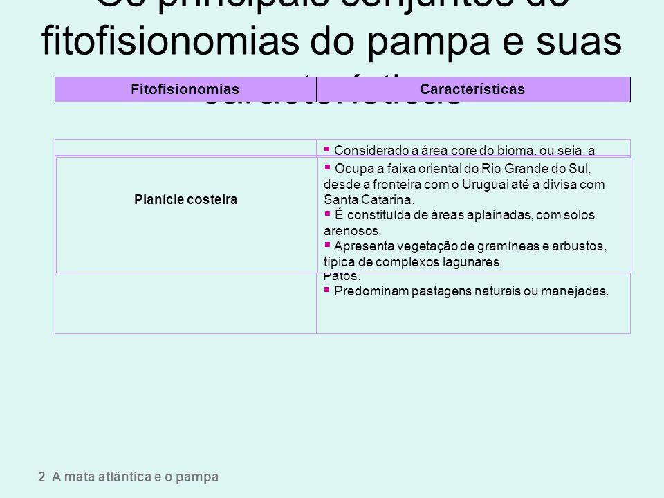 Os principais conjuntos de fitofisionomias do pampa e suas características 2 A mata atlântica e o pampa FitofisionomiasCaracterísticas Planalto da cam