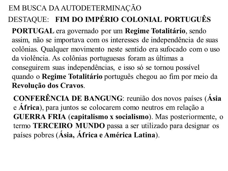 EM BUSCA DA AUTODETERMINAÇÃO DESTAQUE:FIM DO IMPÉRIO COLONIAL PORTUGUÊS PORTUGAL era governado por um Regime Totalitário, sendo assim, não se importav