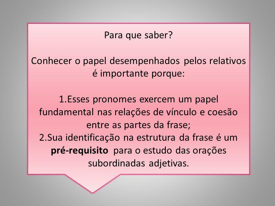 Pronomes relativos São aqueles que retomam um substantivo (ou um pronome) anterior a eles, substituindo-o no início da oração seguinte. ExemplosExempl