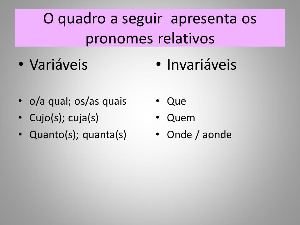 O quadro a seguir apresenta os pronomes relativos Variáveis o/a qual; os/as quais Cujo(s); cuja(s) Quanto(s); quanta(s) Invariáveis Que Quem Onde / aonde