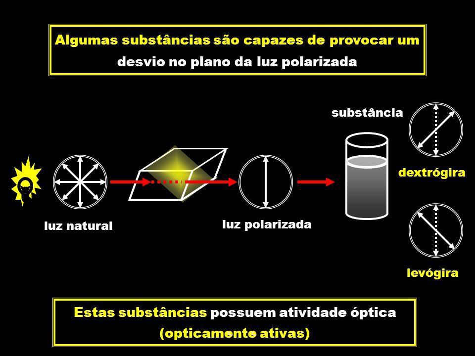 luz polarizada luz natural substância Algumas substâncias são capazes de provocar um desvio no plano da luz polarizada Estas substâncias possuem ativi