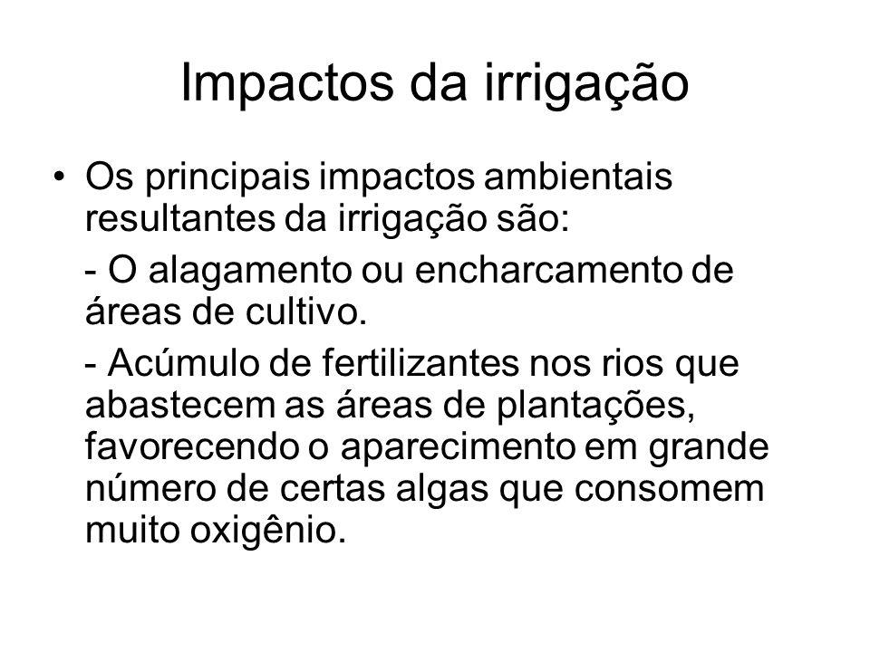Impactos da irrigação Os principais impactos ambientais resultantes da irrigação são: - O alagamento ou encharcamento de áreas de cultivo. - Acúmulo d