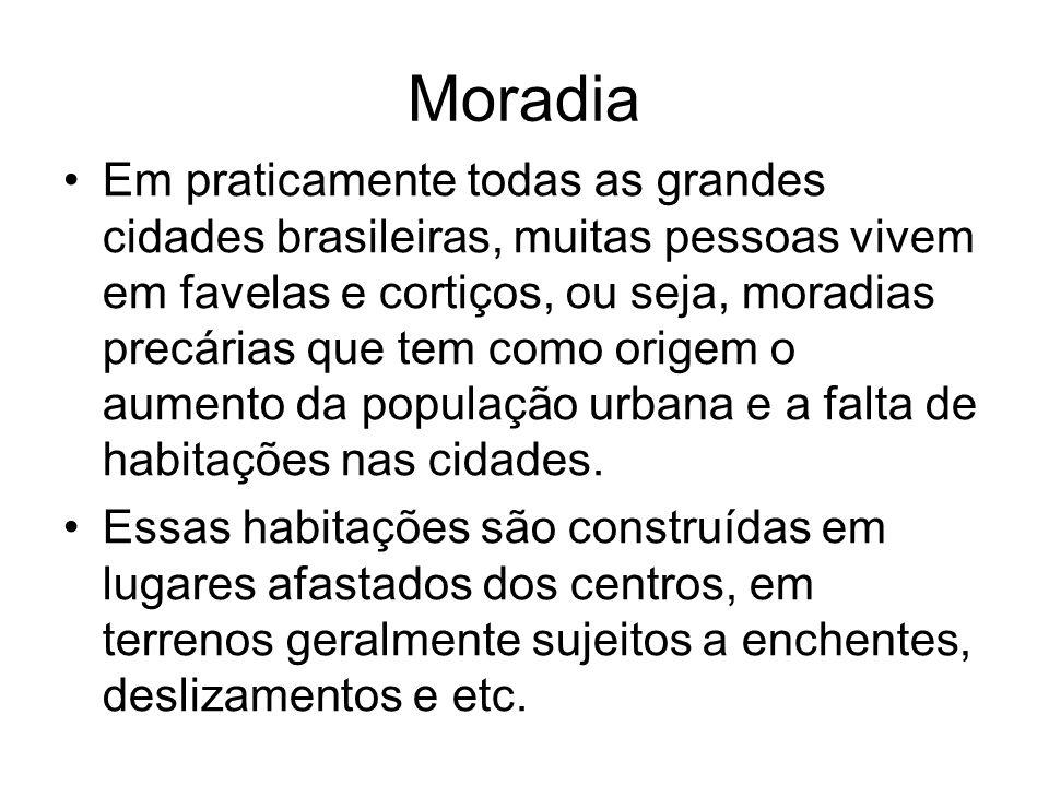Moradia Em praticamente todas as grandes cidades brasileiras, muitas pessoas vivem em favelas e cortiços, ou seja, moradias precárias que tem como ori