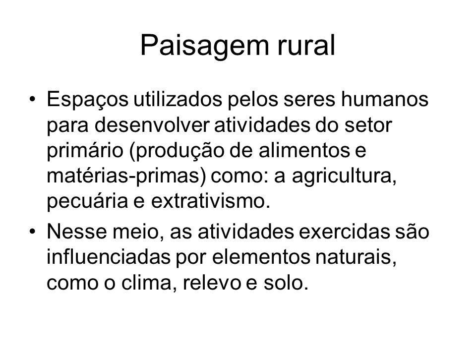 Paisagem rural Espaços utilizados pelos seres humanos para desenvolver atividades do setor primário (produção de alimentos e matérias-primas) como: a